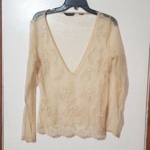 NY&C Beaded Floral Sheer Plunge Top